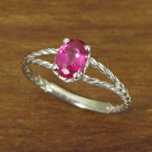 White Gold Ruby Engagement Ring, Twisted Rope Ruby Engagement Ring