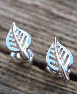 White Gold stud Leaves earrings, Dainty gold earrings