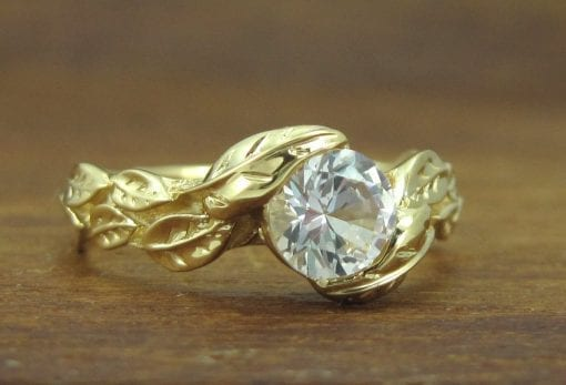 White Sapphire Leaves Engagement Ring, Yellow Gold Engagement Leaf Ring