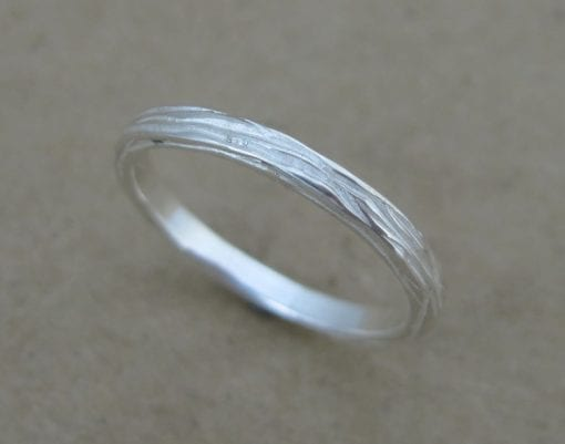 Wood textured wedding ring, White gold bark ring