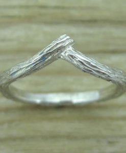 Wood wedding band, Bark wedding ring