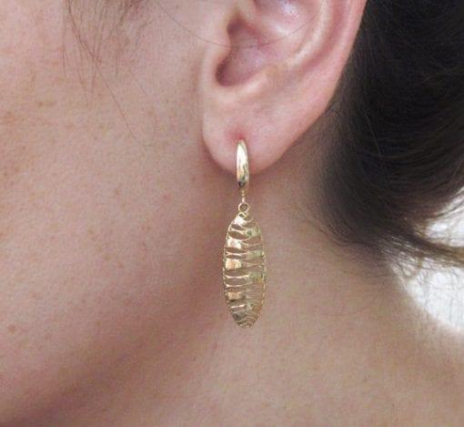 Yellow Gold Dangle Earrings, Contemporary Gold Mesh Earrings