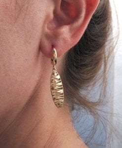 Yellow Gold Dangle Earrings, Contemporary Gold Mesh Earrings