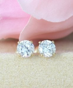 1.50 Carat Diamond Earrings, Solid Gold Stud Earrings