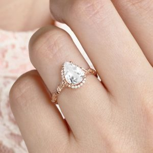 2.0 CT Pear Moissanite Engagement Ring, Rose Gold Pear Halo Solitaire Ring