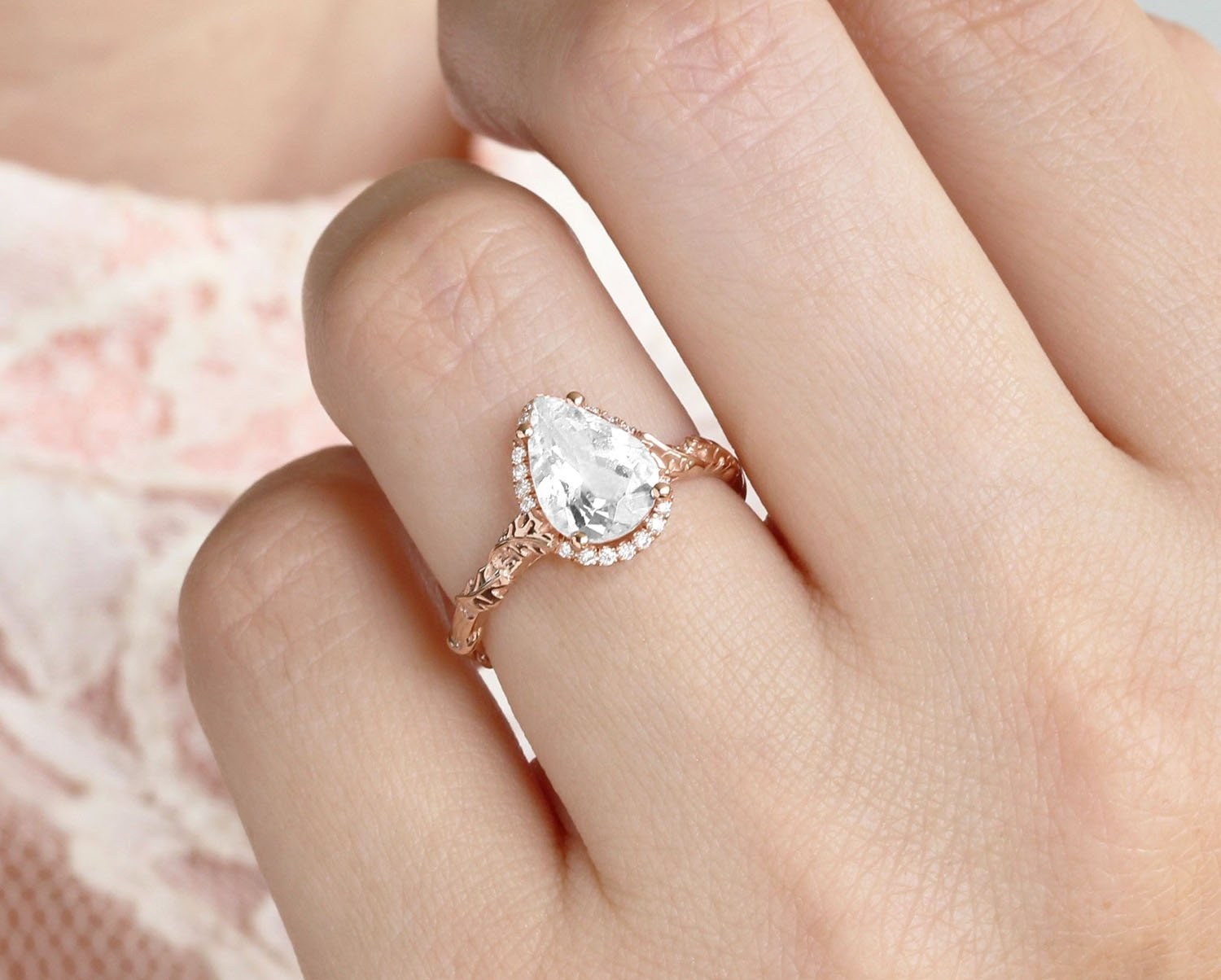 2 0 Ct Pear Moissanite Engagement Ring Rose Gold Pear Halo Solitaire Ring Benati