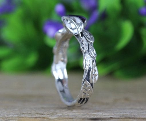 Amethyst leaf ring, amethyst gemstone ring In silver