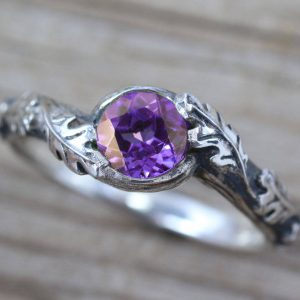 Amethyst Leaf Ring, Silver Leaves Ring With Amethyst