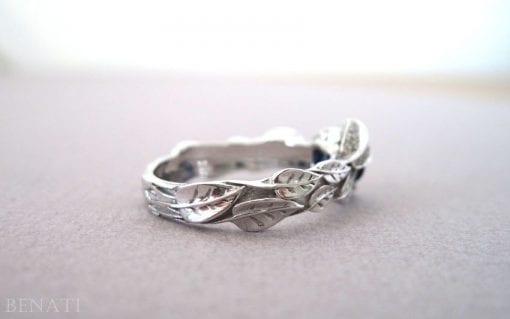 Blue Topaz Diamond Leaves Engagement Ring, Diamond Leaf Engagement Ring