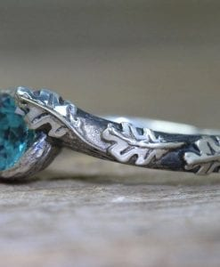 Blue Topaz Leaf Ring, Oak leaves London Blue Topaz Boho Ring