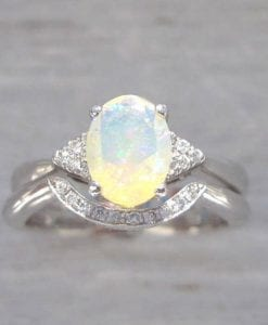 Bridel Set Opal Engagement Ring, Antique Engagement Opal Ring Wedding Set