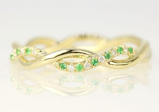 Diamond Emerald Eternity Wedding Band, Emerald Diamond Wedding Band