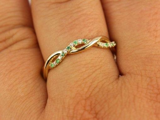 Diamond Emerald Eternity Wedding Band, Emerald Diamond Wedding Band