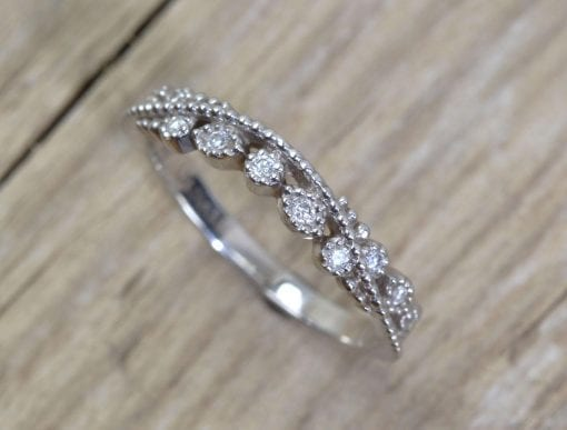Diamond Filigree Wedding Band, Milgrain Wedding Ring