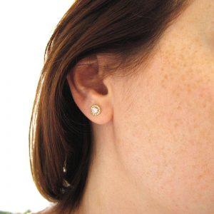 Diamond Halo Earrings, Diamond Yellow Gold Stud Earrings