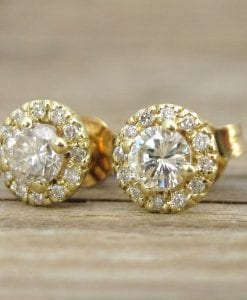 Diamond Halo Earrings, Diamond Yellow Gold Stud Earrings