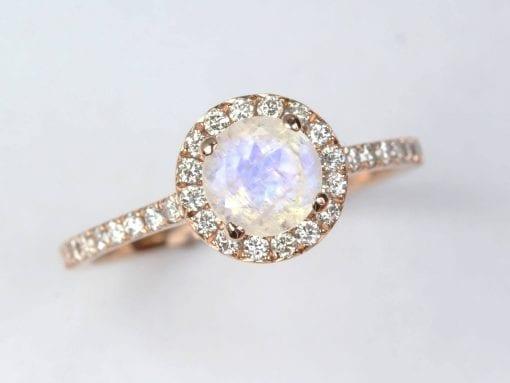 Diamond halo rainbow moonstone engagement ring, Diamond rose gold engagement ring