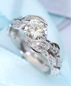 Diamond leaf engagement ring, Diamond leaves engagement ring