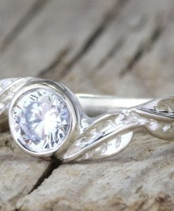 Diamond leaves engagement ring, Bezel Diamond vintage ring