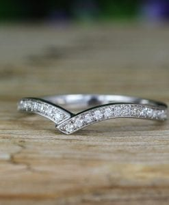 Double  Chevron Diamond Ring, V Shape Diamond Infinity Ring