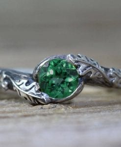 Emerald Leaf Engagement Ring, Silver Emerald Leaf Ring