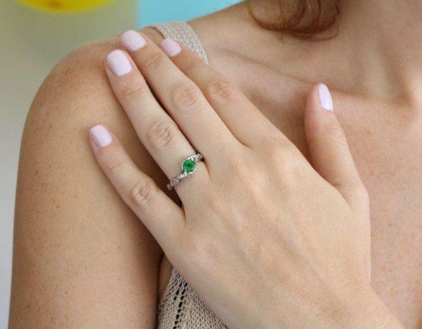 Emerald Leaf Engagement Ring, Silver Emerald Leaf Ring