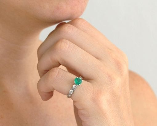 Emerald Nature Engagement Ring, Leaf Emerald Gold Engagement Ring