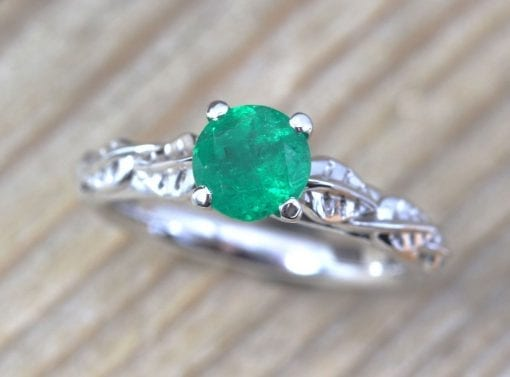 Emerald Nature Engagement Ring, Leaf Emerald Gold Engagement Ring