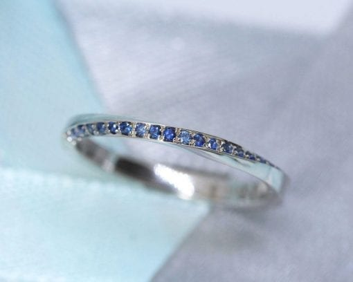 Eternity Band, White Gold Eternity Sapphire Wedding Band 2mm