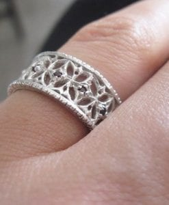 Filigree silver ring, Vintage silver ring