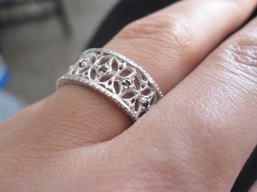Filigree silver ring, Vintage silver ring
