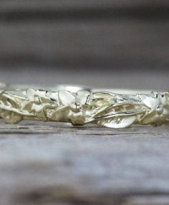 Floral Wedding Band, Leaf Wedding Ring
