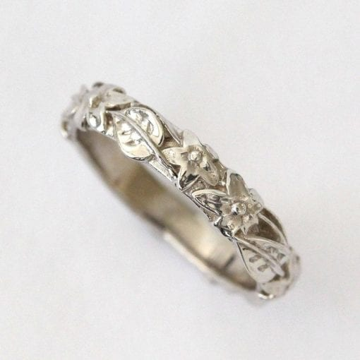 Flower And Leaf Wedding Band, Leaves And flowers Wedding Ring