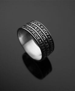 Friendship Words ring in sterling silver, Personalized powerful words