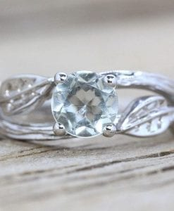 Green Amethyst Twig Engagement Ring, Bark Engagement Ring
