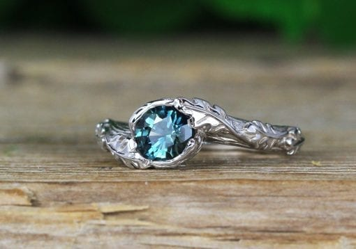 Green sapphire nature inspired ring, Oak leaves floral ring