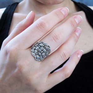 Infinity Knot Rope Silver Ring, Silver braided rope infinity ring