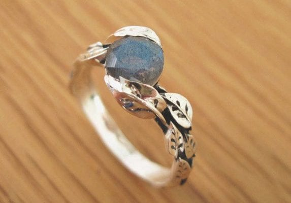 Labradorite Ring, Leaf Ring With Gemstone In Silver
