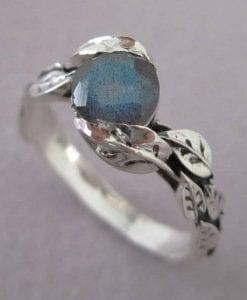 Labradorite Ring, Leaf Ring With Gemstone In Silver