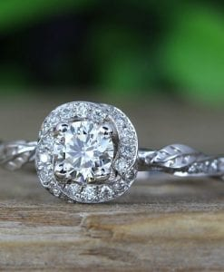 Leaf Engagement Ring, Diamond Engagement Ring