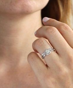 Leaf Engagement Ring, Diamond Engagement Ring