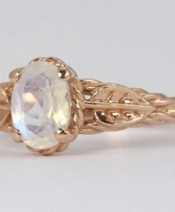 Leaf Moonstone Ring In Rose Gold, Leaves Ring With Rainbow Moonstone