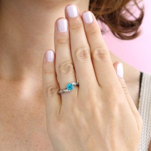 Leaf Ring With Blue Topaz Gemstone In Silver, Blue Topaz Leaves Ring