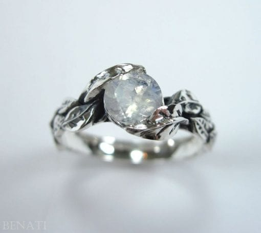 Leaf Ring With Moon Stone Gemstone In Silver, Moonstone Leaf Ring