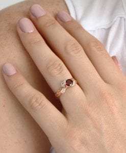 Leaf Rose Gold Garnet ring, Garnet Leaf Engagement Ring