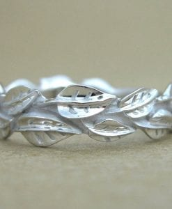 Leaf Wedding Band, Nature Inspired White Gold Leaves Wedding Band