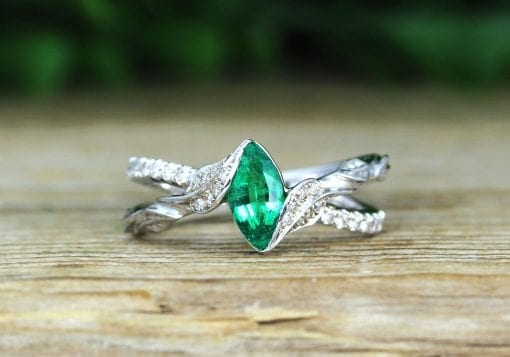 Marquise Emerald Engagement Ring, Nature Inspired Floral Emerald Ring
