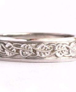 Mens Celtic Wedding Band, Mens Leaves Wedding Ring