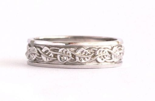 Mens Celtic Wedding Band, Mens Leaves Wedding Ring