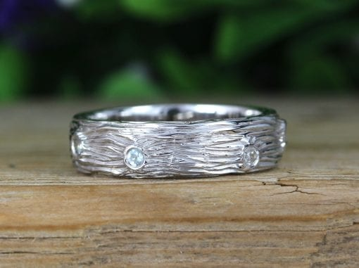 Mens Wedding Rings, Twig White Gold Rough Ring